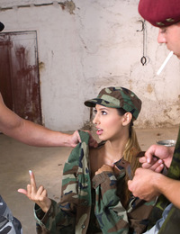 Shy military girl fucked by two bisexual boys in her office