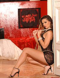 The one and only brunette babe Eve Angel strips and poses
