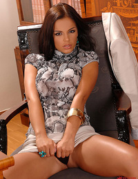 Hot babe with nice tits vibrating her clit in her office