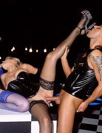 Three amazing girls in latex enjoy good fuck in kinky party